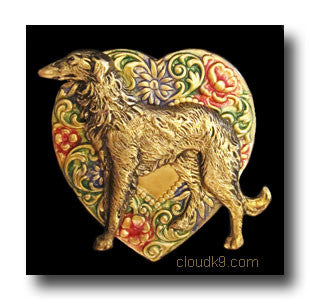 Borzoi Colorful Heart Brooch Pin