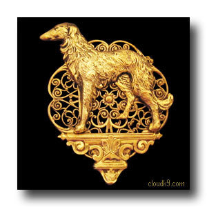 Russian Wolfhound Pedestal Brooch Pin