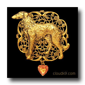 Russian Wolfhound Victoriana Filigree Brooch Pin