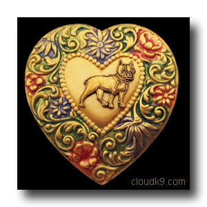 Boston Terrier Colorful Heart Brooch Pin