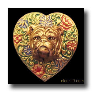 Bulldog Colorful Heart Brooch Pin