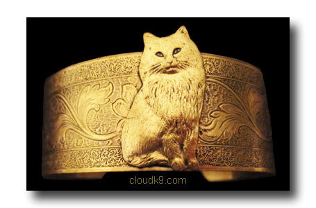 Persian Cat Cuff Bracelet (Long Haired Cat)