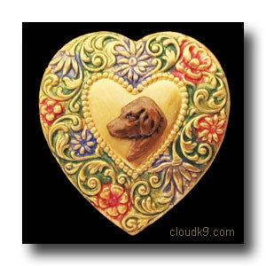 Chesapeake Bay Retriever Colorful Heart Brooch Pin