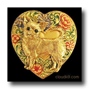 Chihuahua Colorful Heart Brooch Pin