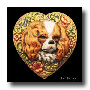 Cavalier King Charles Spaniel Colorful Heart Brooch Pin