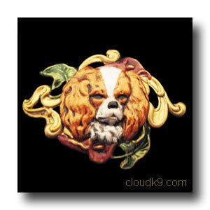 Cavalier King Charles Spaniel & Lilies Hand Painted Brooch Pin