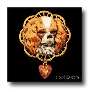 King Charles Spaniel Victoriana Filigree Brooch Pin