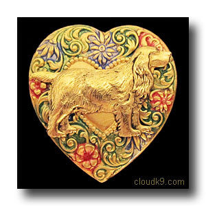 English Cocker Spaniel Colorful Heart Brooch Pin