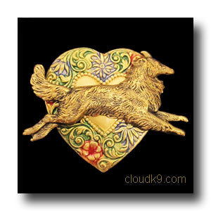 Sheltie Colorful Heart Brooch Pin