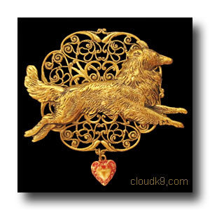 Collie Victoriana Filigree Brooch Pin