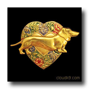 Dachshund Colorful Heart Brooch Pin
