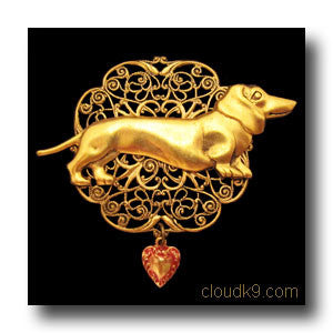 Dachshund Victoriana Filigree Brooch Pin