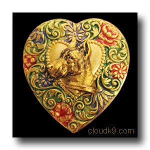 Great Dane Colorful Heart Brooch Pin