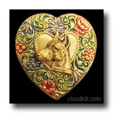 Doberman Colorful Heart Brooch Pin