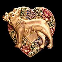 French Bulldog Colorful Heart Brooch Pin