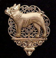 French Bulldog Pedestal Brooch Pin