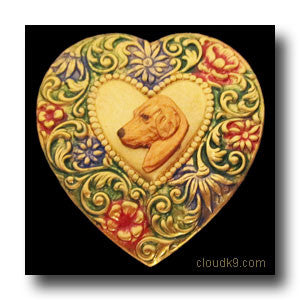 Golden Retriever (Small Profile) Colorful Heart Brooch Pin