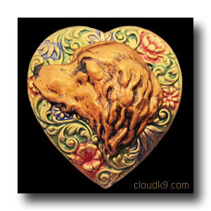 Golden Retriever (Large Profile) Colorful Heart Brooch Pin