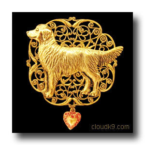 Golden Retriever Victoriana Filigree Brooch Pin (Standing Golden)