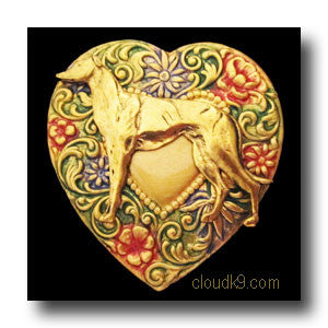 Greyhound Colorful Heart Brooch Pin