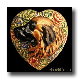 Leonberger Colorful Heart Brooch Pin