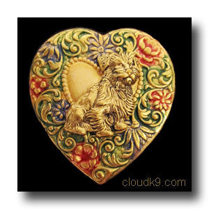 Norfolk Terrier Colorful Heart Brooch Pin