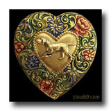 Pointer Colorful Heart Brooch Pin