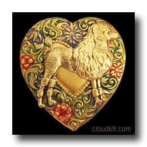Poodle Colorful Heart Brooch Pin
