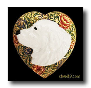 Kuvasz Colorful Heart Brooch Pin