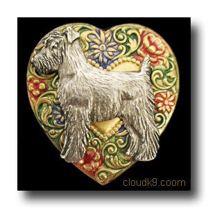 Schnauzer Colorful Heart Brooch Pin