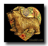 Scottish Terrier Colorful Heart Brooch Pin