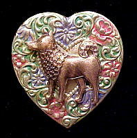 Shiba Inu Colorful Heart Brooch Pin