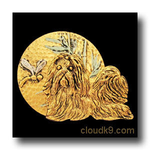 Shih Tzu, Dragonfly and Bamboo Circle Pin
