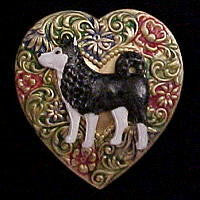 Siberian Husky Colorful Heart Brooch Pin