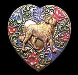 St. Bernard Dog Colorful Heart Brooch Pin