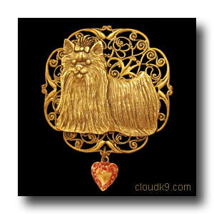 Yorkie Victoriana Filigree Brooch Pin