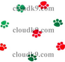 Red and Green Paw Prints Cello Treat Bags