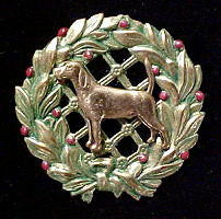 Foxhound Christmas Wreath Brooch Pin