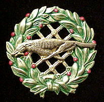 Russian Wolfhound (Racing) Christmas Wreath Brooch Pin
