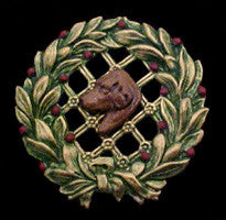 Labrador Retriever (Chocolate Lab) Christmas Wreath Brooch Pin
