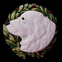Great Pyrenees Christmas Wreath Brooch Pin