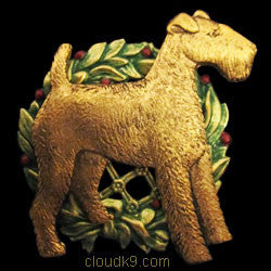 Wire Fox Terrier Christmas Wreath Brooch Pin