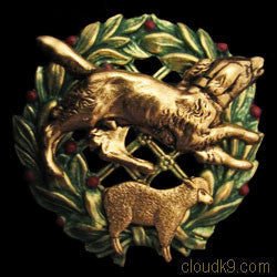 Border Collie & Sheep Christmas Wreath Brooch Pin