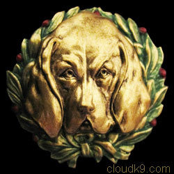 Bloodhound Christmas Wreath Brooch Pin