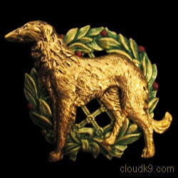 Russian Wolfhound (Standing) Christmas Wreath Brooch Pin