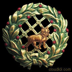 Boston Terrier Christmas Wreath Brooch Pin