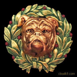 Bulldog Christmas Wreath Brooch Pin