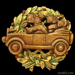 Scottie / Schnauzer in Car Christmas Wreath Brooch Pin