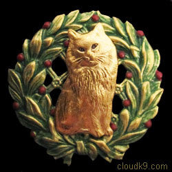 Cat (Persian) Christmas Wreath Brooch Pin