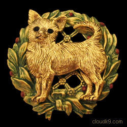 Chihuahua Christmas Wreath Brooch Pin